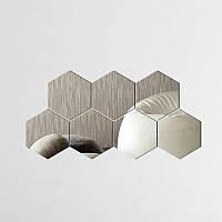 Декоративные зеркальные наклейки на стену «Соты большие» кубики. Интерьерные декор-наклейки ХРОМ.