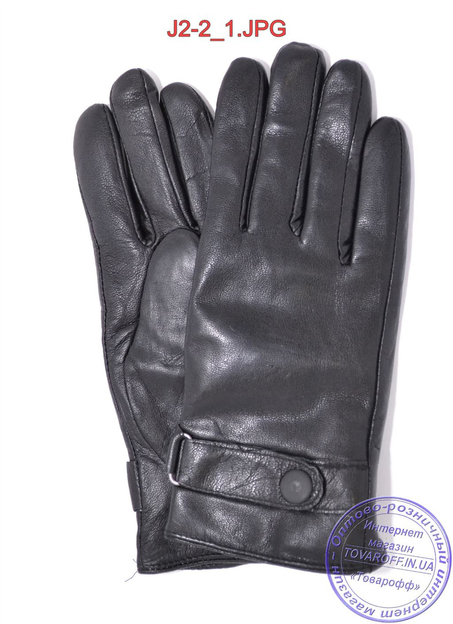 Подростковые кожаные перчатки с махровой подкладкой - №J2-2