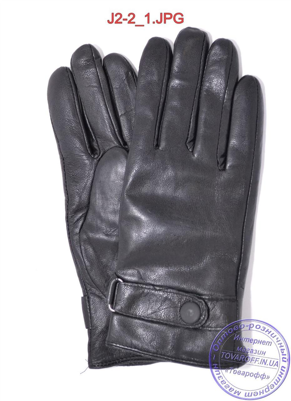 Оптом подростковые кожаные перчатки с махровой подкладкой - №J2-2