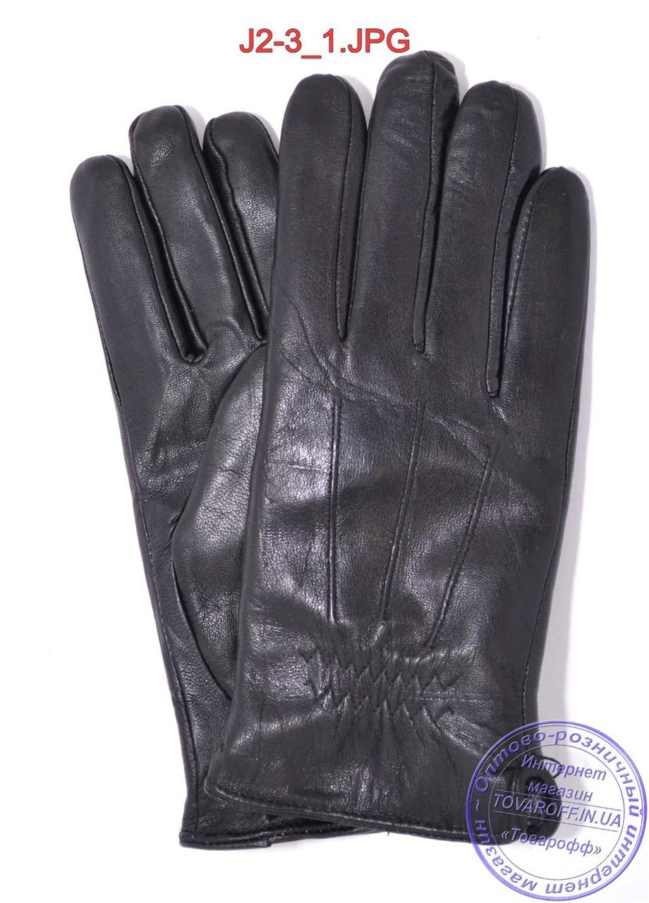 Подростковые кожаные перчатки с махровой подкладкой - №J2-3