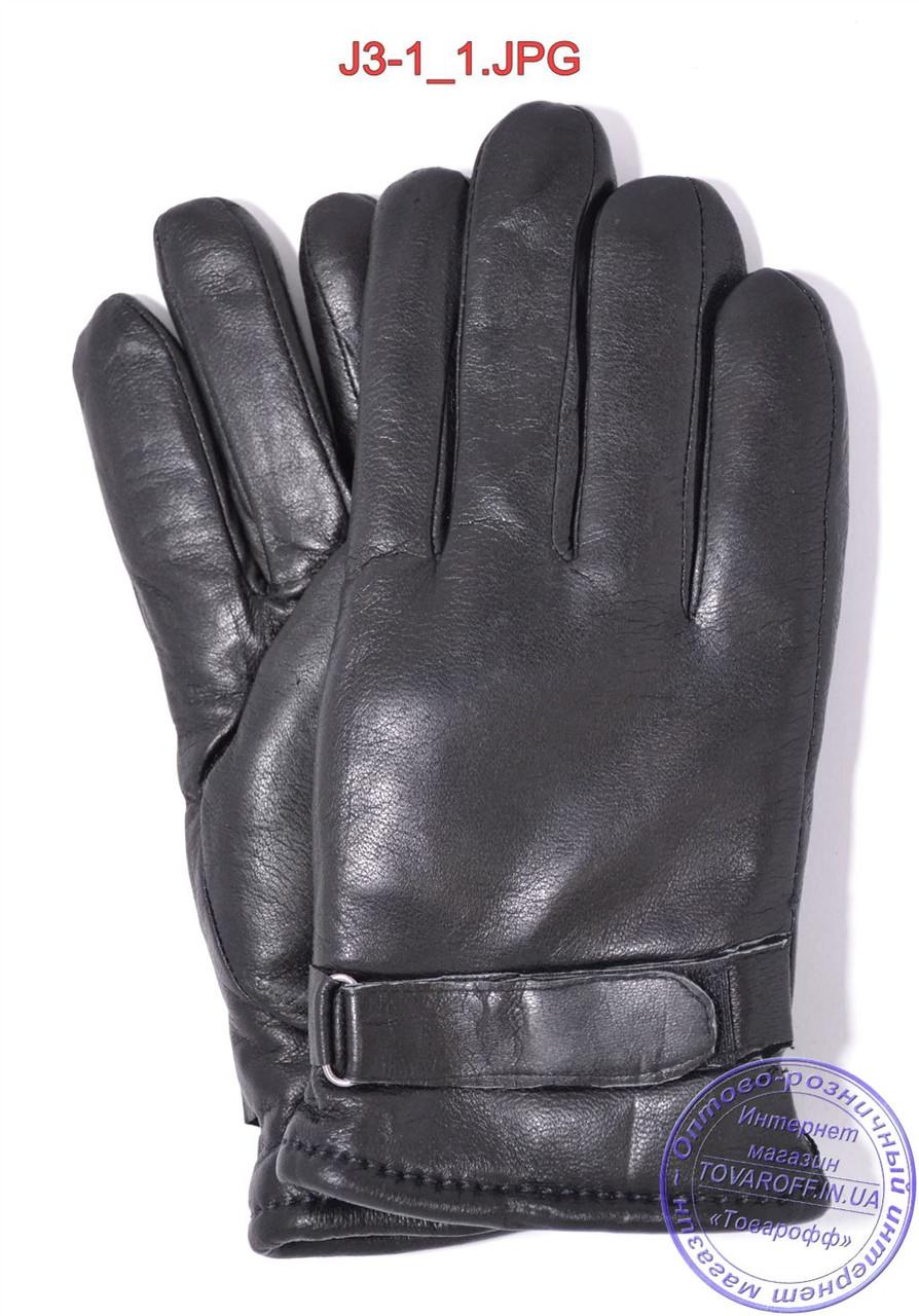 Подростковые кожаные перчатки с махровой подкладкой - №J3-1