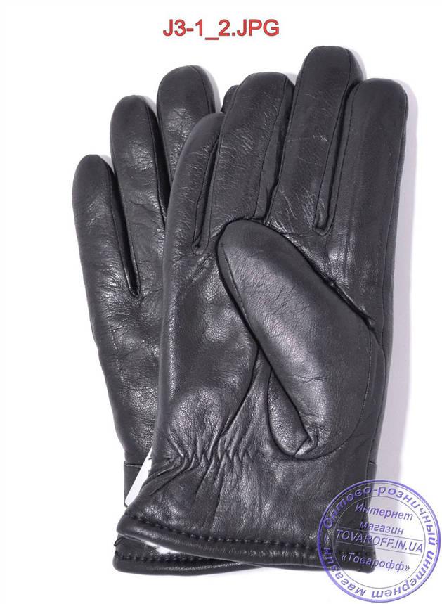 Оптом подростковые кожаные перчатки с махровой подкладкой - №J3-1, фото 2