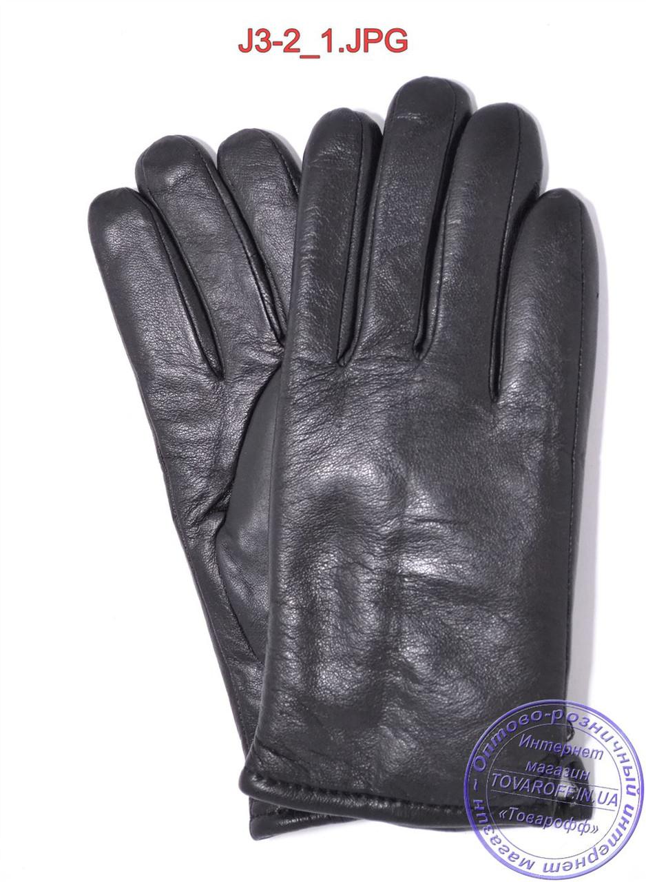 Подростковые кожаные перчатки с махровой подкладкой - №J3-2