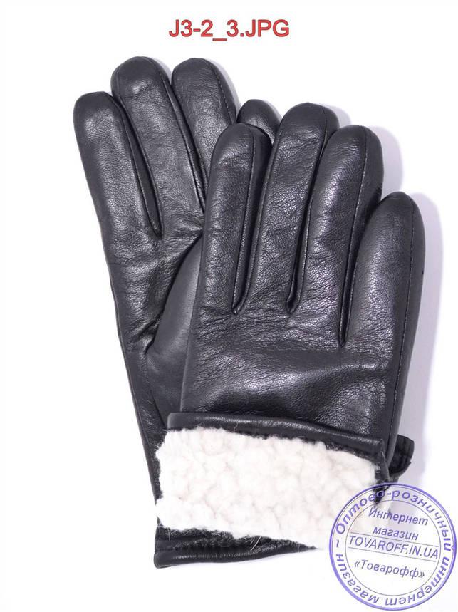 Подростковые кожаные перчатки с махровой подкладкой - №J3-2, фото 2