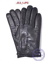 Оптом подростковые кожаные зимние перчатки на меху - №J3-2, фото 1