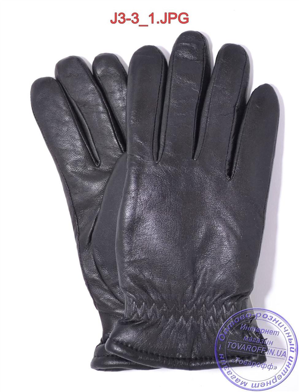 Подростковые кожаные перчатки с махровой подкладкой - №J3-3