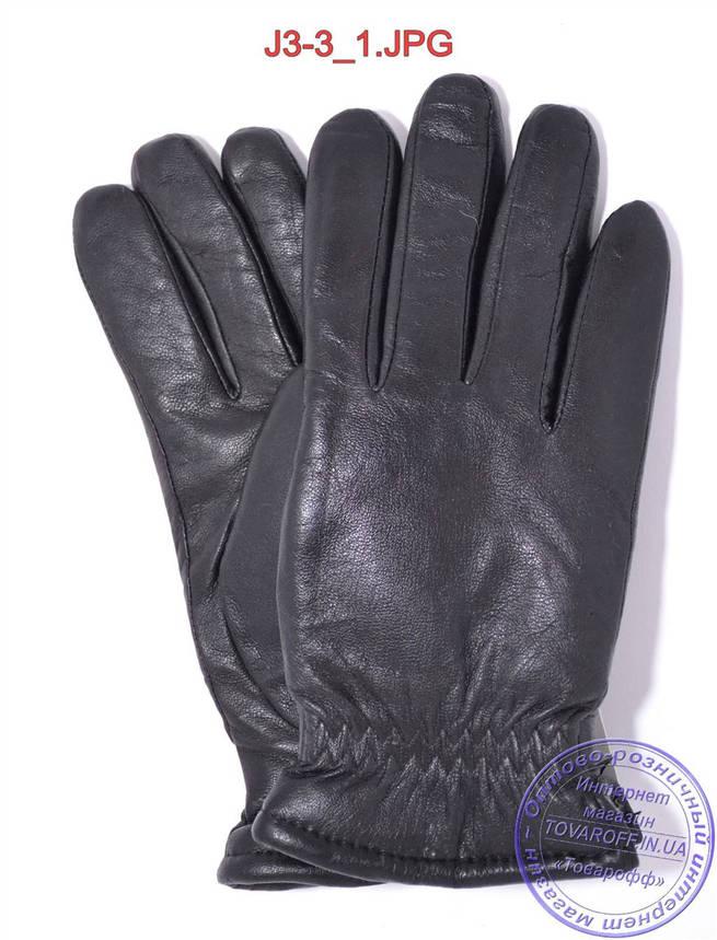 Оптом подростковые кожаные перчатки с махровой подкладкой - №J3-3, фото 2