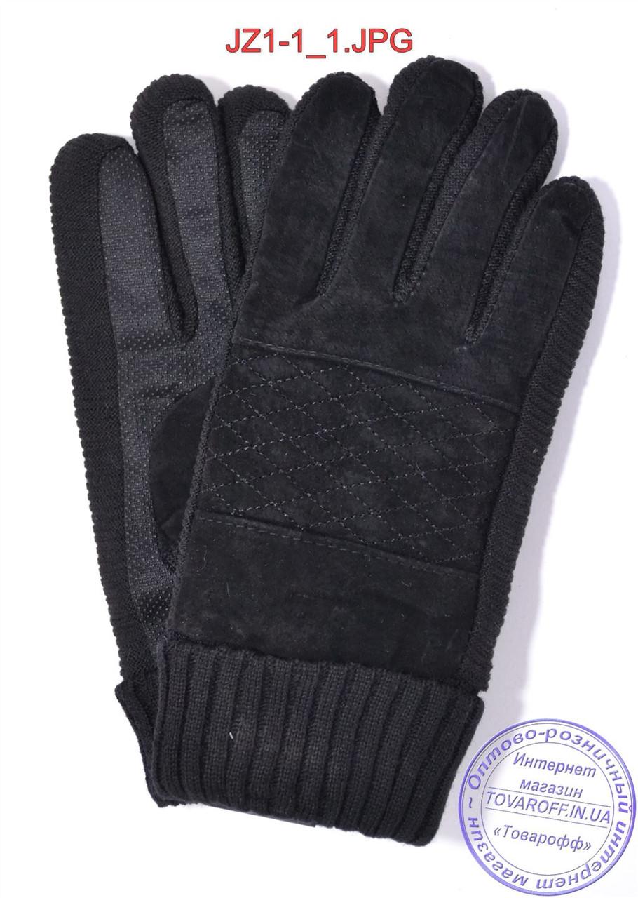 Оптом подростковые замшево-трикотажные перчатки - Черные - JZ1