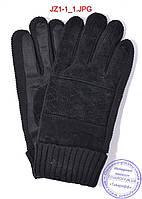 Оптом подростковые замшево-трикотажные перчатки - Черные - JZ1, фото 1