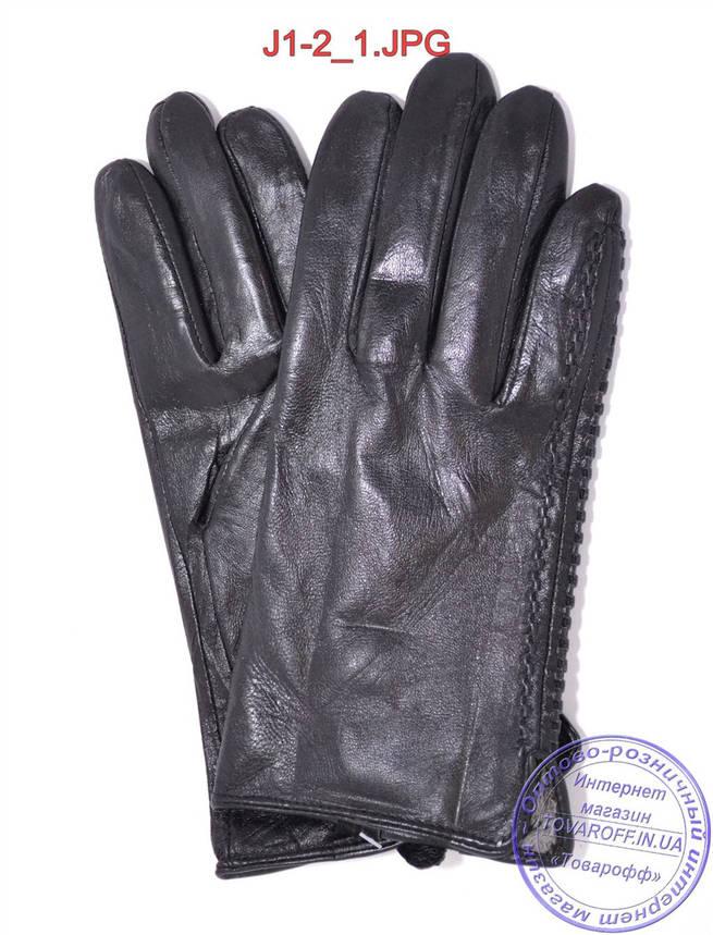 Подростковые кожаные перчатки с плюшевой подкладкой  - №J1-2, фото 2