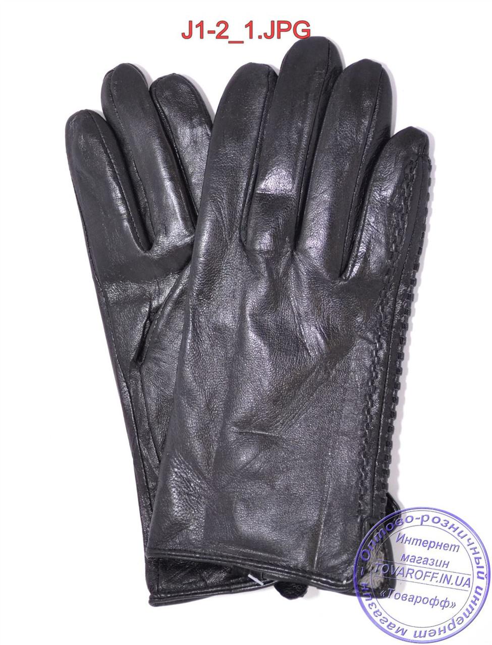 Оптом подростковые кожаные перчатки с плюшевой подкладкой  - №J1-2
