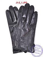 Оптом подростковые кожаные перчатки с плюшевой подкладкой  - №J1-2, фото 1