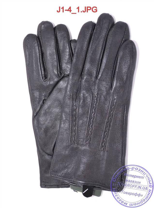 Оптом подростковые кожаные перчатки с плюшевой подкладкой  - №J1-4, фото 2