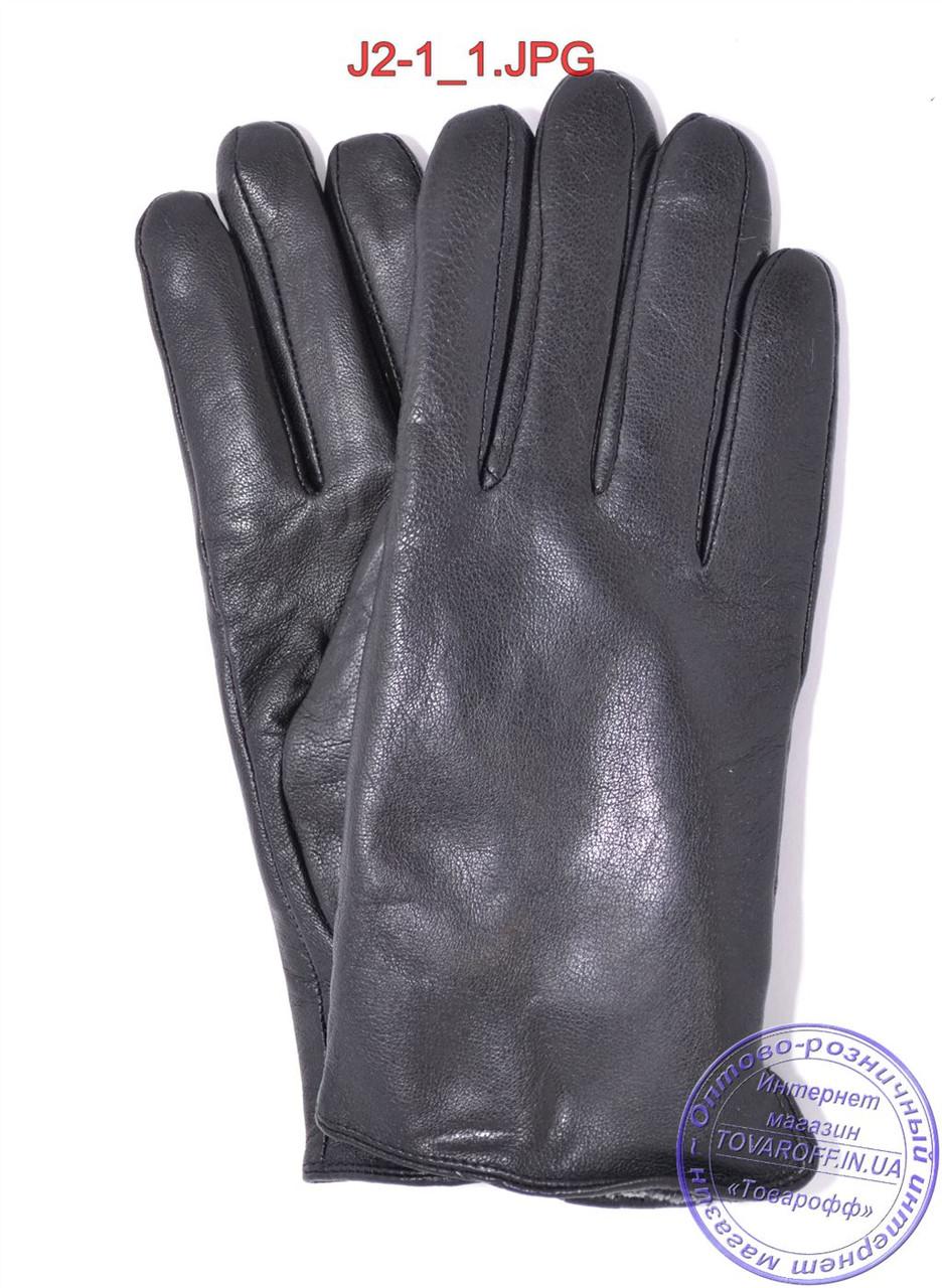 Подростковые кожаные перчатки с махровой подкладкой - №J2-1
