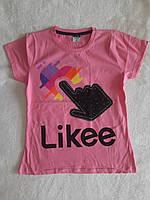 Модная футболка-туника для девочки Likee(лайк) 10,11,12 лет