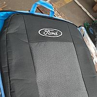 Чехлы на сиденья Ford Transit 2000-2014 Стандарт 'Prestige' задняя спинка цельная; 3 подголовника; пер. подлок