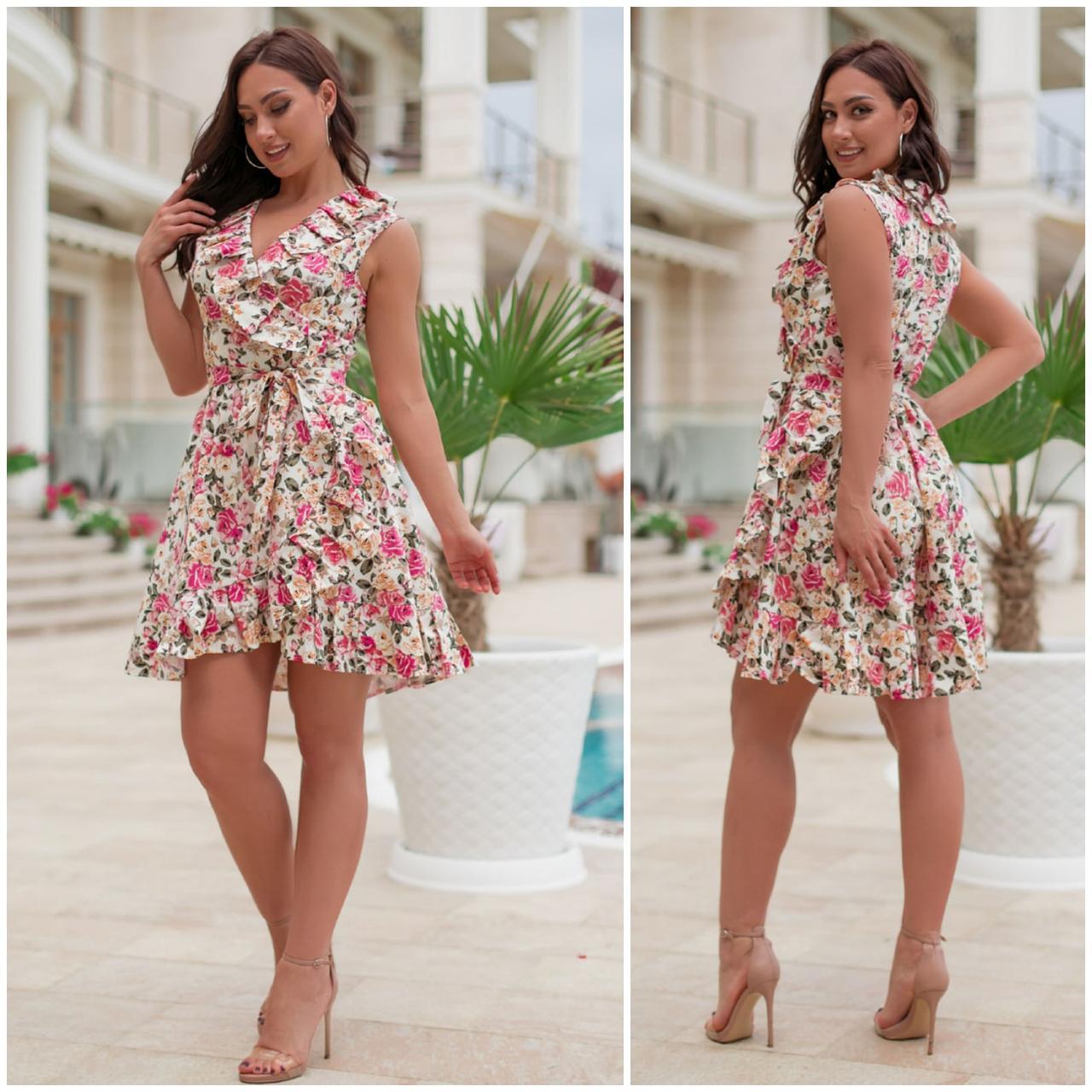 Плаття-сарафан літній міні на запах з натуральної тканини коттон, 2 кольори р. 48-50,52-54 код 332V