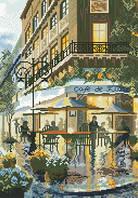 Схема на канве для вышивки крестом Парижское кафе Ркан 3039