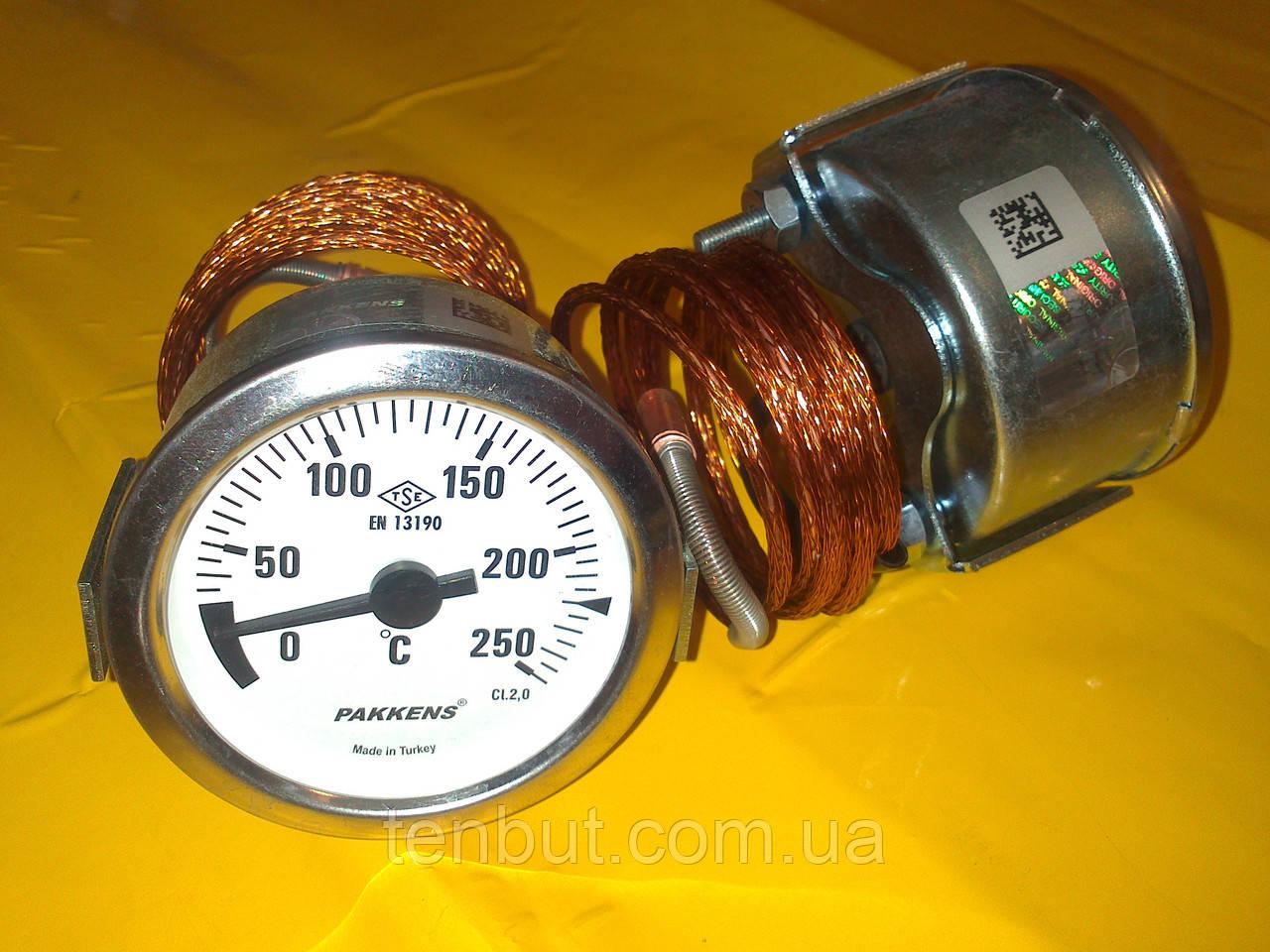 Термометр металлический 250°C градусов Ø-60 мм. с капилляром 1-метр. PAKKENS производство Турция