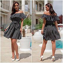 Миле плаття літнє батал, відкриті плечі, вільна спідниця під поясок, 3 кольори р. 48,50,52,54 код 335V, фото 3
