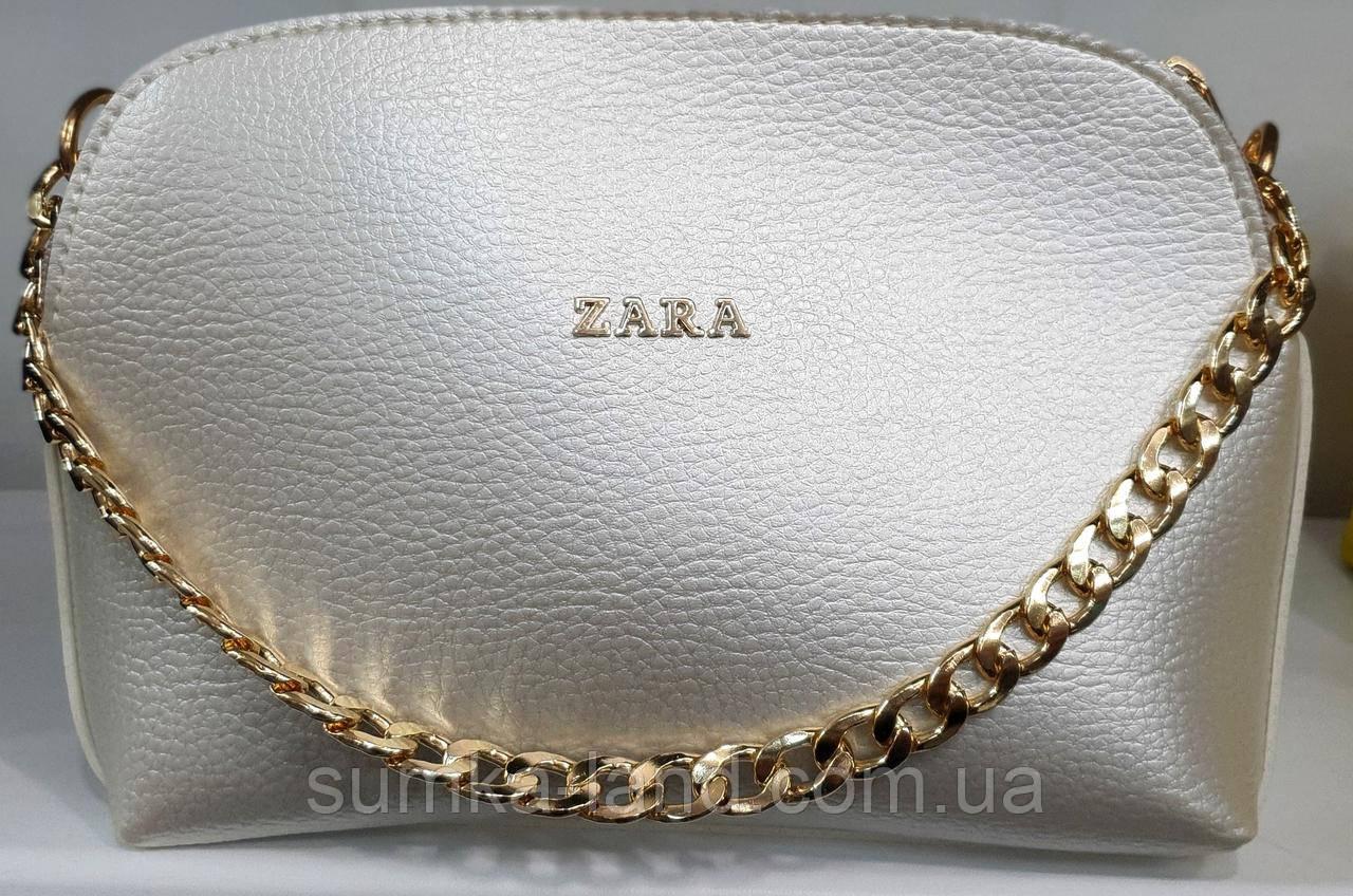 Женский перламутровый клатч Zara из кожзама на 3 отделения 25*17 см