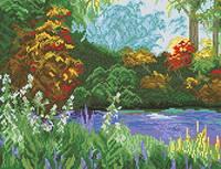 Схема на канве для вышивки крестом Поляна в лесу Ркан 3040