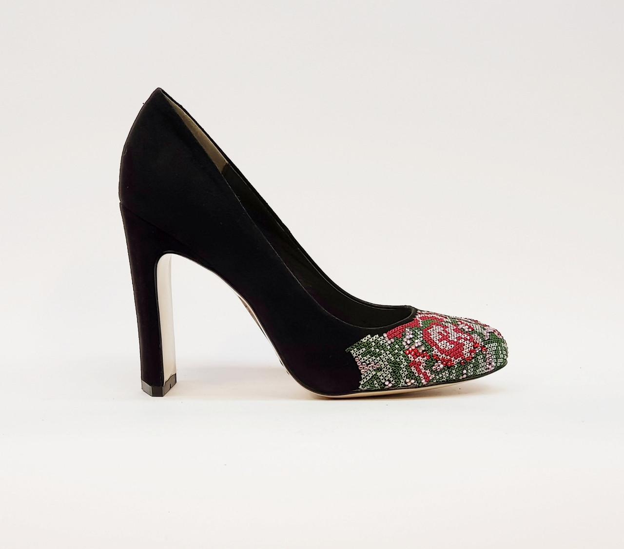 Туфли женские весна-осень на высоком каблуке натуральная замша черные