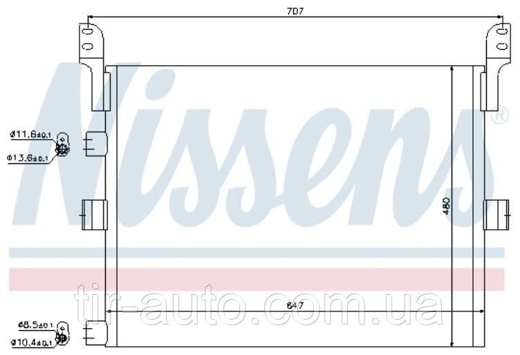 Радиатор кондиционера Renault Premium/Magnum DXI12 ( 610*478*16 ) ( NISSENS ) 94918