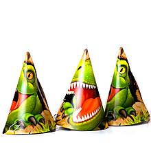 Колпачки детские праздничные динозавры 10 шт.