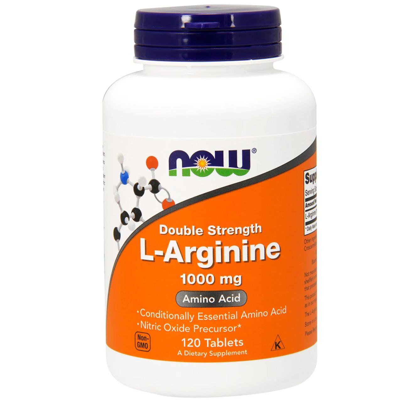 Now Foods, L-Arginine, Double Strength, 1,000 mg, 120 таблеток