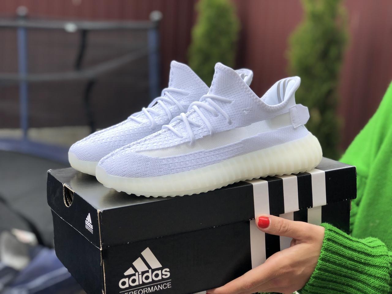 Модные кроссовки Adidas x Yeezy Boost, текстиль,белые