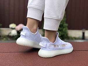Модные кроссовки Adidas x Yeezy Boost, текстиль,белые, фото 2