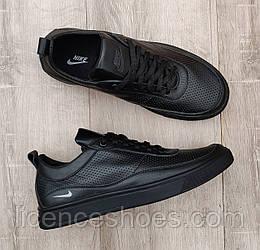 Мужские кроссовки Nike Air Max Total Black ПЕРФОРАЦИЯ. Кожа натуральная
