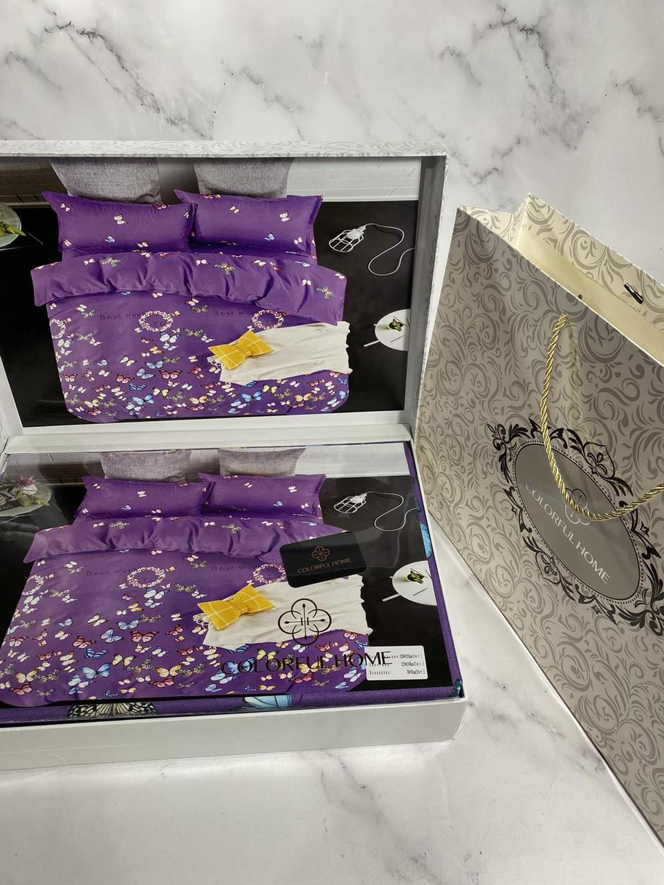Постельное белье евро 200-220, подарочная упаковка