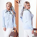 Классическая рубашка-блуза женская летняя большого размера с воротник, 12 цветов, р.50-52,54-56,58-60 код 272Э, фото 3