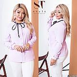 Классическая рубашка-блуза женская летняя большого размера с воротник, 12 цветов, р.50-52,54-56,58-60 код 272Э, фото 2