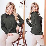 Классическая рубашка-блуза женская летняя большого размера с воротник, 12 цветов, р.50-52,54-56,58-60 код 272Э, фото 5