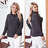 Классическая рубашка-блуза женская летняя большого размера с воротник, 12 цветов, р.50-52,54-56,58-60 код 272Э, фото 6