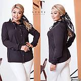 Классическая рубашка-блуза женская летняя большого размера с воротник, 12 цветов, р.50-52,54-56,58-60 код 272Э, фото 9