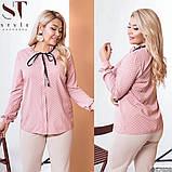 Классическая рубашка-блуза женская летняя большого размера с воротник, 12 цветов, р.50-52,54-56,58-60 код 272Э, фото 10