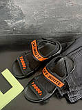 Детские босоножки кожаные летние черные-оранжевые CrosSAV Boy 222 Orange, фото 4