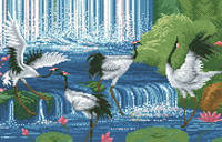 Схема на канве для вышивки крестом Журавли у водопада Ркан 3041