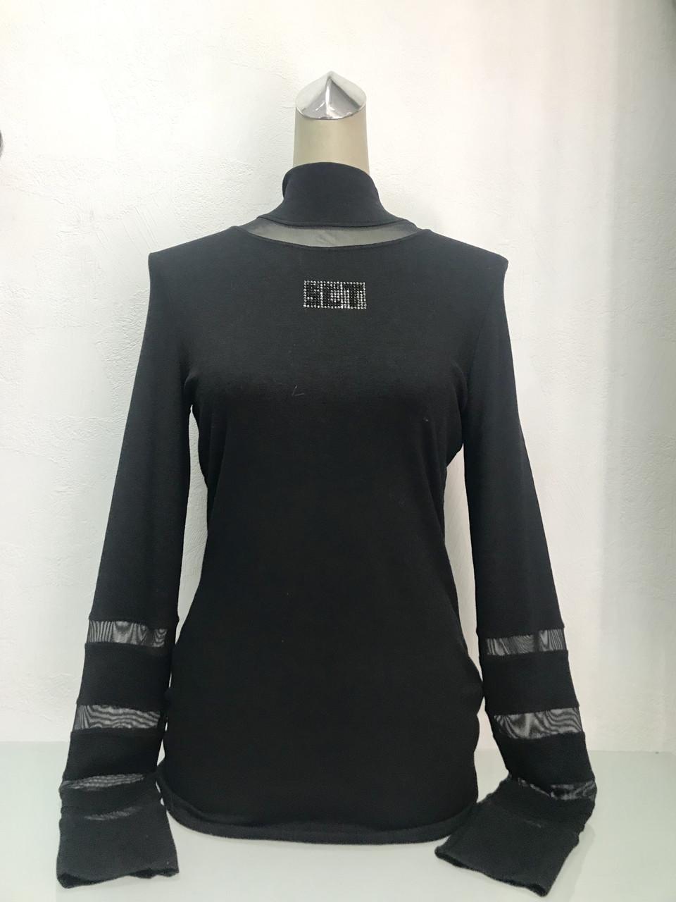 Водолазка женская  Societa черная с прозрачными вставками.