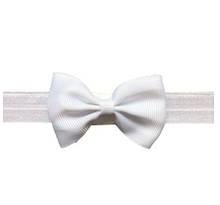 Детская белая повязочка на голову - размер универсальный (на резинке), бант 8см