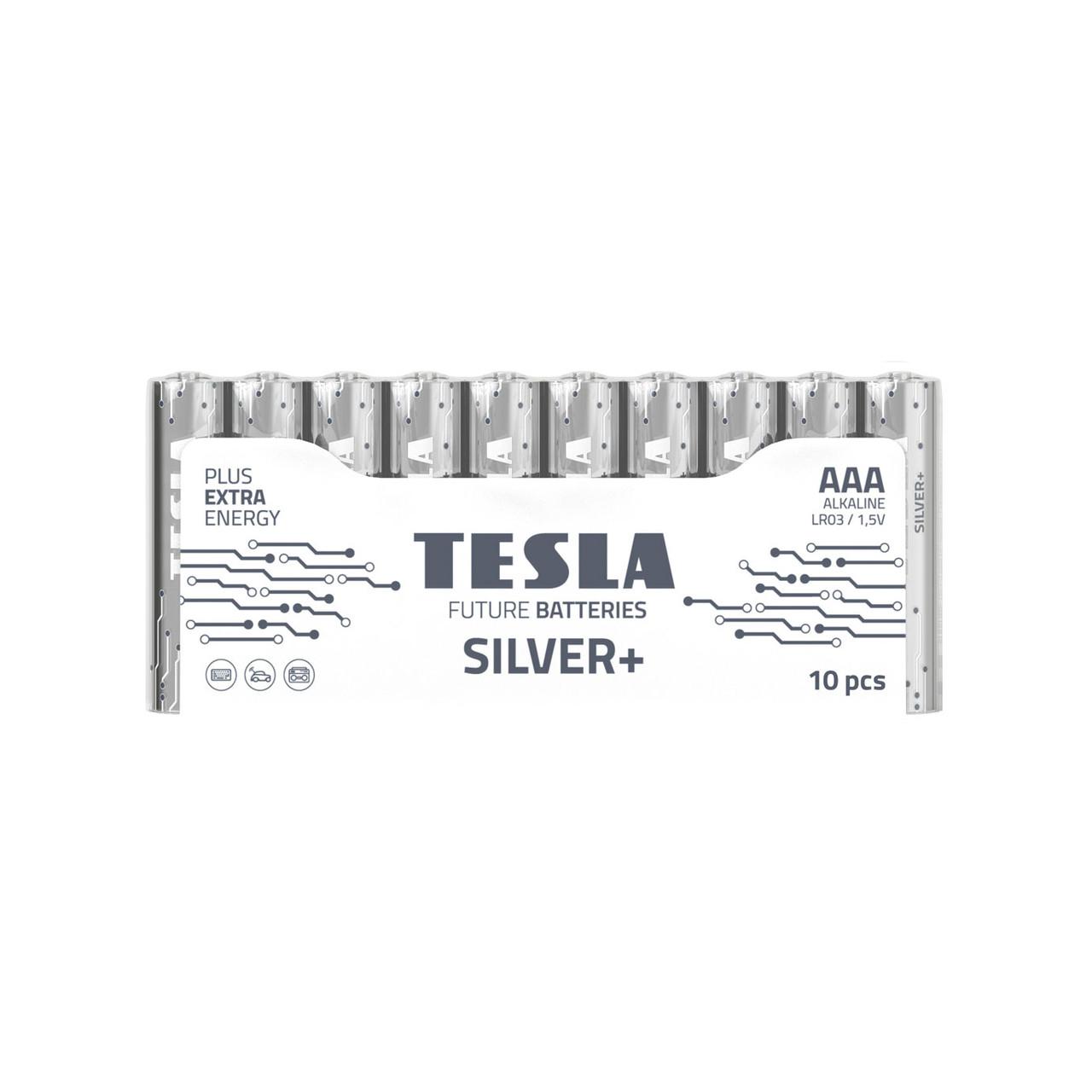 Щелочные батарейки TESLA SILVER+ AAА (LR06) 10 шт.