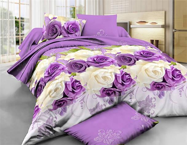 Комплект постельного белья евро на резинке 200*220 хлопок (14579) TM KRISPOL Украина, фото 2
