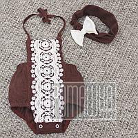 Комплект 56-68 0-5 мес нарядный красивый летний комплект боди платье повязка на выписку для девочки 6092 Бордо