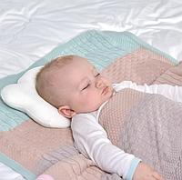 Ортопедическая подушка для новорожденных от 0-12, 20х27х5 д.8см Мишка