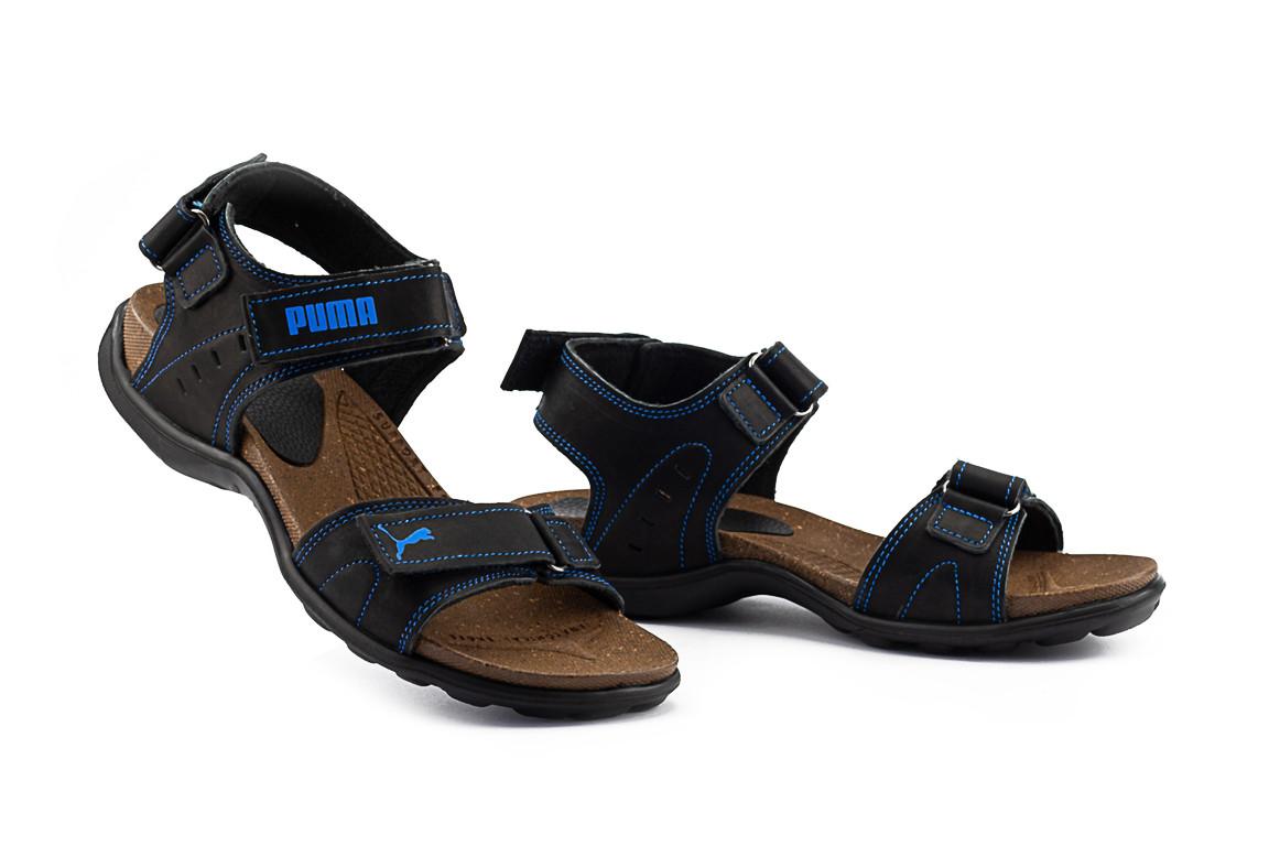 Подростковые сандалии кожаные летние синие Monster Tracking П-син