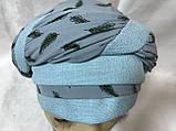 Летняя  бандана-шапка-косынка-тюрбан с объёмной драпировкой  бирюзовая, фото 6